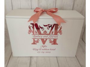 a monogram dress travel box in rose gold