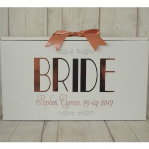 paris bride dress box in rose gold