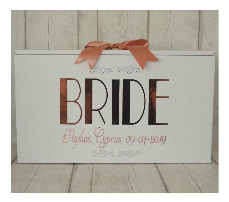 paris bride dress box in rose gold