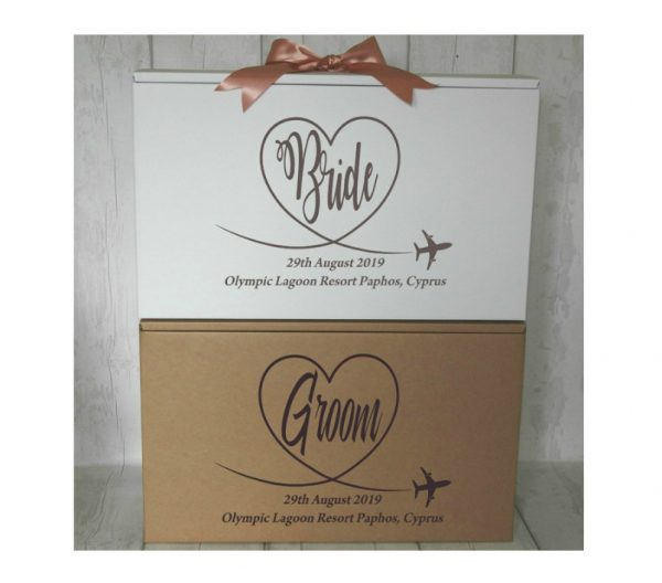 2 x bride and groom travel boxes